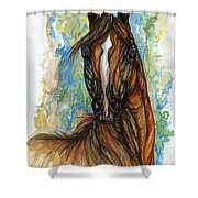 Psychodelic Chestnut Horse Original Painting Shower Curtain