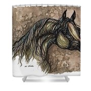 Psychodelic Grey Horse Original Painting Shower Curtain