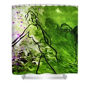 Psychological State In Green Shower Curtain