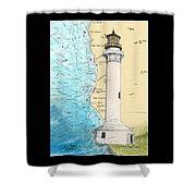 Pt Arena Lighthouse Ca Nautical Chart Map Art Cathy Peek Shower Curtain