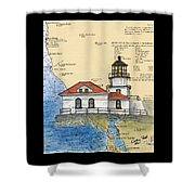 Pt Bonita Lighthouse Ca Nautical Chart Map Art Shower Curtain