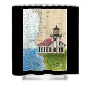 Pt Cabrillo Lighthouse Ca Nautical Chart Map Art Cathy Peek Shower Curtain