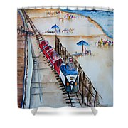 Pt Pleasant Nj Sand Train Shower Curtain