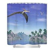 Pteranodon Birds Flying Above Islands Shower Curtain