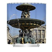 Public Fountain At The Place De La Concorde In Paris France Shower Curtain
