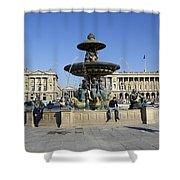 Public Fountain At The Place De La Concorde Shower Curtain