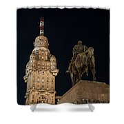 Public Statue And Skyscraper At Night Shower Curtain