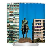 Public Statue Of General Artigas In Montevideo Shower Curtain