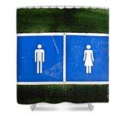 Public Toilet Sign Shower Curtain