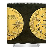 Pueblo Of Acoma Tribe Code Talkers Bronze Medal Art Shower Curtain