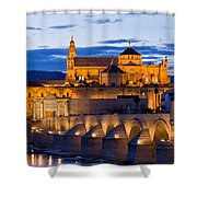 Puente Romano And Mezquita At Twilight In Cordoba Shower Curtain