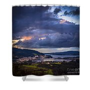 Puentedeume From Cabria Noguerosa Galicia Spain Shower Curtain