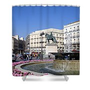 Puerta Del Sol In Madrid Shower Curtain