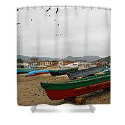 Puerto Lopez Beach And Boats Shower Curtain