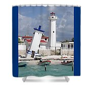 Puerto Morelos Lighthouse Shower Curtain