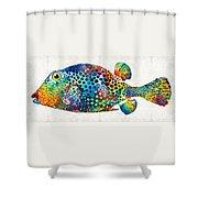 Puffer Fish Art - Puff Love - By Sharon Cummings Shower Curtain