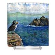 Puffin At Skellig Island Ireland Shower Curtain