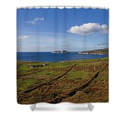 Puffin Island From The Skelligs Ring Shower Curtain