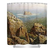 Puffins On Lundy Island Oil On Canvas Shower Curtain