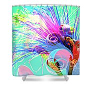 Puffy Bloom W Bee Abstract Shower Curtain