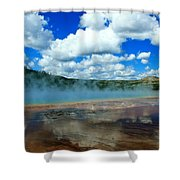 Puffy Clouds And Hot Springs Shower Curtain