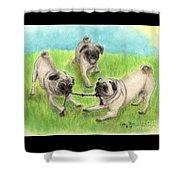 Pug Dog Playing Canine Animal Pets Art Shower Curtain