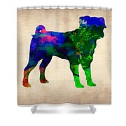 Pug Watercolor  Shower Curtain by Naxart Studio