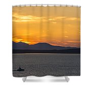 Puget Sound Evening Tug Shower Curtain