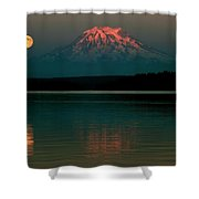 Puget Sound Moonrise Shower Curtain by Benjamin Yeager