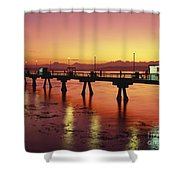 Puget Sound Olympic Mountains Fishing Pier Shower Curtain