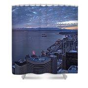 Puget Sound Sunset Illumination Shower Curtain