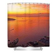 Puget Sound Sunset Shower Curtain