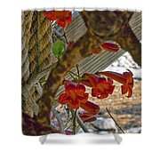 Pulley Wood And Vine Shower Curtain