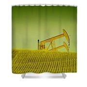 Pumpjacks In Farm Land Shower Curtain