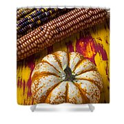Pumpkin And Indian Corn Shower Curtain by Garry Gay