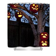 Pumpkin Escape Over Fence Shower Curtain