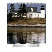 Pumpkin Island Lighthouse Shower Curtain