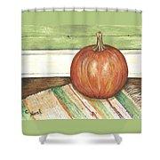 Pumpkin On A Rag Rug Shower Curtain