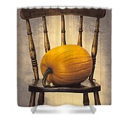Pumpkin On Chair Shower Curtain