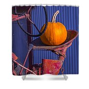 Pumpkin On Tractor Seat Shower Curtain