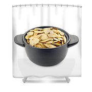 Pumpkin Seeds In A Black Cup Shower Curtain