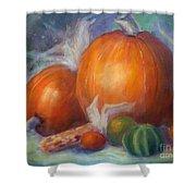 Pumpkins And Corn Shower Curtain