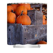 Pumpkins On The Wagon Shower Curtain by Kerri Mortenson