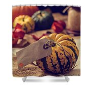 Pumpkins With Label Shower Curtain
