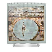 Punting On River Cam Under Clare Bridge Shower Curtain