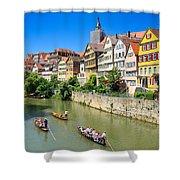 Punts On River Neckar In Lovely Old Tuebingen Germany Shower Curtain