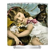 Puppies Kittens And Baby Girl Shower Curtain