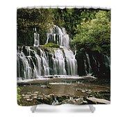 Purakaunui Falls And Tropical Shower Curtain