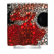 Pure Passion 2 - Stone Rock'd Red And Black Art Painting Shower Curtain by Sharon Cummings