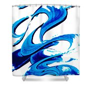 Pure Water 314 - Blue Abstract Art By Sharon Cummings Shower Curtain